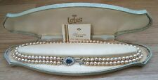 LOTUS: SIMULATED PEARL NECKLACE, 2 ROWS, STONE FASTENER, 19 INCH: 1970