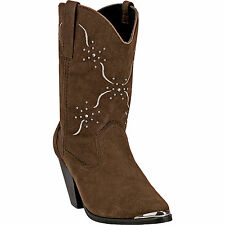 Dingo Womens Chocolate Sonnet Faux Leather Cowboy Boots Studded