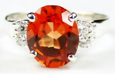 Created Padparadsha Sapphire, 925 Sterling Silver Angel Ring, SR123-Handmade