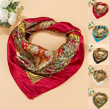 Women Satin Luxury Wrap Bandana Square Large Headband Kerchief 35'' x35'' Scarf