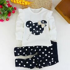 2pcs Baby Girls Kids Outfit Set Minnie Mouse Top Pants Trousers Clothes Costumes