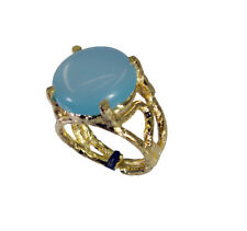 Blue Chalcedony Copper Ring L-1in sublime Blue gemstones AU K,M,O,Q
