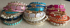 FASHION 6 PIECES IMITATION  PEARL MIX  BEADS STRETCH BRACELET