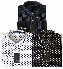 Men's Blue Black & White Polka Dot Pin Dot Button Down Collar Long Sleeved Shirt
