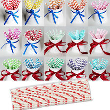 25xVintage Stripe Paper Drinking Straws Wedding Party Table Decorations Colorful