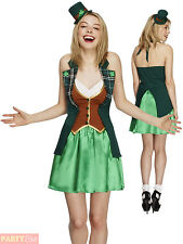Ladies Fever St Patricks Costume Adults Leprechaun Fancy Dress Irish Outfit