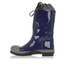 MIU MIU Women original blue rubber and patent leather Boot New made in italy
