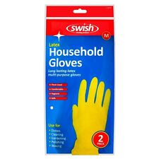 PACK OF 2 PAIRS x YELLOW HOUSEHOLD MULTI PURPOSE GARDEN GLOVES RUBBER LATEX