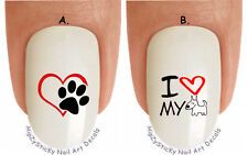 """WaterSlide Decal Set#1358 """"Love my Dog Breed Red Heart Paw"""" Nail Art Transfers"""