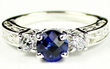 Created Blue Sapphire w/CZ Accents, 925 Sterling Silver Ring, SR254-Handmade
