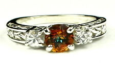Twilight Fire Topaz w/ CZ Accents, 925 Sterling Silver Ring, SR254-Handmade