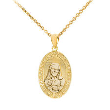 """10k Yellow Gold """"Sacred Heart Of Jesus Have Mercy On Us"""" Medium Pendant Necklace"""