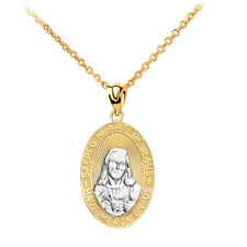 10k Two Tone Gold Sacred Heart Of Jesus Have Mercy On Us Medium Pendant Necklace