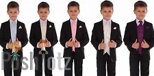 Boys Suits Fitted Black Wedding Pageboy Suit 6pc Cream, Ivory, Purple, Pink,Blue