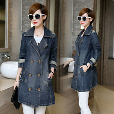 New Womens Fashion Spring Double-breasted Lapel Jean Jacket Oversize Denim Coat
