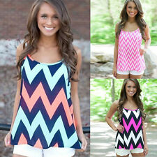 1pcs Fashion Casual Backless Tops Cami Wave Sleeveless Loose New Stripe Women