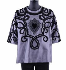 "DOLCE & GABBANA RUNWAY Torero Silk Embroidered ""Sacred Heart"" Shirt Gray 05237"