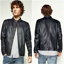 ZARA Man BNWT Authentic Navy Blue Faux Leather Perforated Bomber Jacket 3548/356