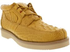 Mens Yellow Buttercup El Presidente Crocodile Casual Exotic Dress Shoes