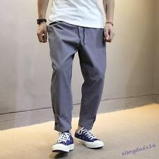 Mens Casual Cotton Blend Loose Harem Chic Baggy Cropped Trousers Pants #