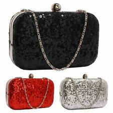 Sequin Clutch Bag Black Red Silver Wedding Prom Party Evening Ladies Handbag New