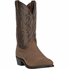 Laredo Mens Tan Leather London 12in Distressed R Toe Cowboy Boots