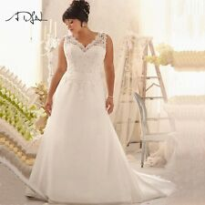 Plus Size Wedding Dresses V-neck Appliqued Beaded Chiffon Beach Bridal Gown Hot