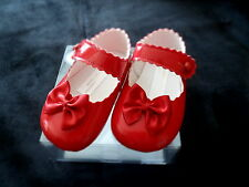 Baby Girls Baypods Special Occasion Red Patent Button Bar Soft Pram Shoes- Bow
