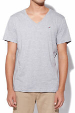 New TOMMY JEANS Mens HILFIGER DENIM Original V Neck Tee Grey Heather