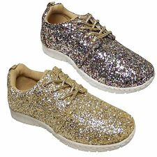 Ladies Girls Flat Canvas Lace Up Casual Gym Glitter Pumps Dance Shoes Trainers