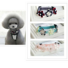 Detachable Pet Puppy Dog Cat Neck Collar with Fake Flowers Pearls Bell Decor