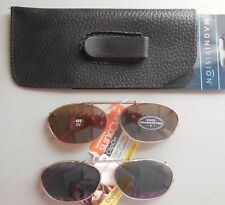 2  Pair StyleScience / Suncover Clip Ons Sunglasses Sm Gold Oval Frames w Case