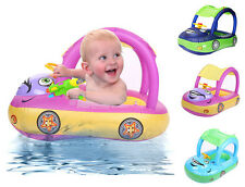 Sunshade Baby Infant Float Seat Car Boat Inflatable Swim Ring Pool Water Fun