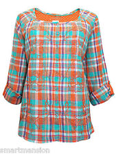 New Ex M&S Ladies Orange Check Blouse Long Sleeve Embroidered Shirt Top Sze 8-22