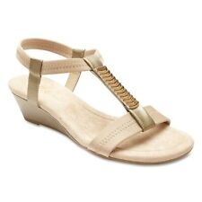 NEW Easy Steps Calvin Taupe Elastic T-Bar Sandals Women Shoes Wide Fit C-Fit