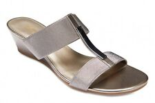 NEW Easy Steps Connie Pewter Elastic Slide Sandals Women Shoes Wide Fit C-Fit