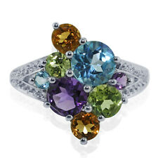 Multiple Gemstone 925 Sterling Silver Right Hand 2.88 ctw Ring GSR115