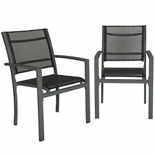Stacking Outdoor Textoline Chairs Set Patio Garden Garden Seat Metal Frame Style