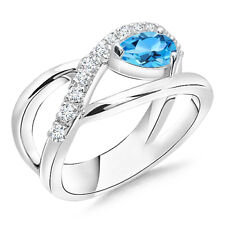 Pear Shape Natural Blue Topaz Engagement Ring w/ Diamond Accents 14k Solid Gold