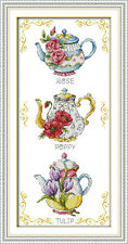 Teapot cake cross stitch kits flower 18ct 14ct 11ct counted printed fabric set