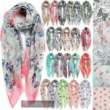 LADIES NEW BUTTERFLY FLORAL PATTERN LOVELY PRINTED SCARF SHAWL WRAP