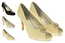 Ladies Low Heel Wedding Court Shoes Satin Diamante Peeptoe Bridesmaid Size 3 4 6