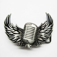 Microphone Flying Wings Rock Music Belt Buckle Gurtelschnalle Boucle de ceinture