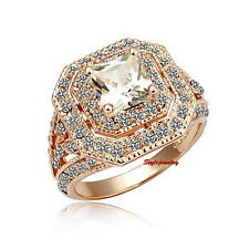 18k Rose Gold Plated Made with Swarovski Crystal Wedding Cocktail Ring R53