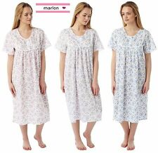 LADIES POLY COTTON FLORAL SPRIG LONG LENGTH SHORT SLEEVE NIGHTIE SIZES 10- 30
