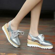 Womens Oxford Platform Wedge heel Slingback Lace-up Casual Preppy Shoes #