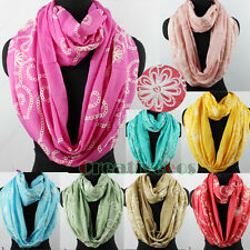 Women's Fashion Floral Embroidery Long Scarf Wrap Shawl/Infinity Cowl Loop Scarf