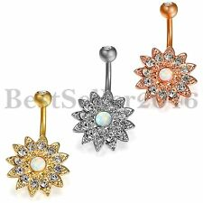 1PC Womens Flower Navel Belly Ring CZ Button Bar Dance Body Piercing Jewelry
