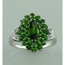Chrome Diopside,White Topaz 925 Sterling Silver Right Hand 2.92 ctw Ring GSR925