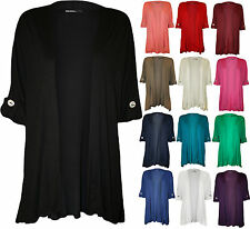 New Plus Size Womens Button Turn Up Short Sleeve Ladies Open Cardigan Top 16-26